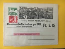 8015 - Bande Journal Der Schweizer Pflanzen-Freund Rüti 3.02.1919 Pour Aarau - Stamped Stationery