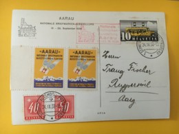 8016 - National Briefmarken Ausstelung Aarau 24.09.1938 Vignette Timbres Taxes 40 & 50 Ct Sur Carte - Switzerland