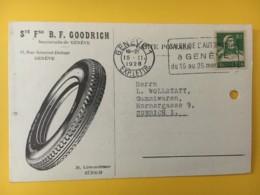 8020 - Sté B.F Goodrich Genève Pneus Pour Zürich 15.11.1928 Cachet Salon De L'automobile - Lettres & Documents