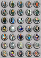 Johnny Hallyday Music Fan ART BADGE BUTTON PIN SET 17 (1inch/25mm Diameter) 35 DIFF - Music