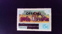 Nevis 1980 Agriculture Tracteur St Christophe Nevis Anguilla Service Surchargé Overprint OFFICIAL Yvert S1 ** MNH - St.Christopher, Nevis En Anguilla (...-1980)