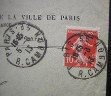 1913 Piquage Décalé Sur Un 10 Centimes Semeuse, Lettre De MACL Société D'assurance Mutuelle De La Ville De Paris - Marcophilie (Lettres)