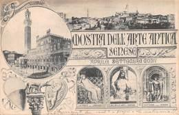 """0615 """"SIENA - MOSTRA DELL'ARTE ANTICA SENESE - APRILE 1904"""" ANIMATA. CART SPED 1904 - Siena"""