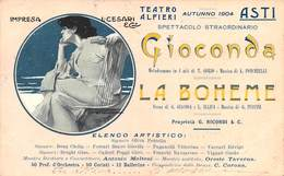 "0616 ""ASTI - TEATRO ALFIERI - STAGIONE LIRICA 1904 . IMPRESA L. CESARI - ARTISTI"" ANIMATA, FIGURA FEM.LE. CART SPED 1904 - Asti"