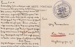 """Feldpostkarte Namur 5.10.15 Met """"Kaiserl.......Gouvernement Fussartillerie"""". - [OC1/25] Gouv. Gén."""
