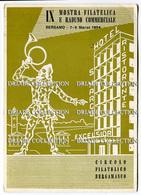 CARTOLINA IX MOSTRA FILATELICA E RADUNO COMMERCIALE BERGAMO ANNO 1964 CIRCOLO FILATELICO BERGAMASCO CON ANNULLO - Manifestazioni
