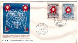 Fdc Tre Stelle : CROCE ROSSA 1963 ; No Viaggiata; AF_Roma - F.D.C.