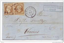 013. Devant De Lettre TYPE2 BRUN Cachet Ambulant CD. (De Calais à Douai) - Nov. 1860 - Postmark Collection (Covers)
