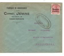 JS544/ Guerre-Oorlog 14-18 TP Oc 3 S/L.Entête C.Jemine Fabrique Chaussures Dison C.Verviers 1916 Censure Verviers V.BXL - Guerre 14-18