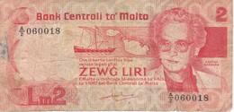 BILLETE DE MALTA DE 2 LIRAS DEL AÑO 1986  (BANKNOTE) - Malte