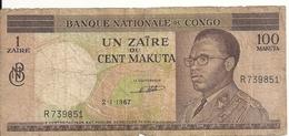 CONGO 1 ZAIRE 1967 VG+ P 12 A - Congo