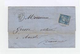 Sur Lettre Type Sage 15 C Bleu CAD Gare De Livron 1878. Cachet Ambulant. Cachets Aouste Et Crest, Drôme. (831) - Postmark Collection (Covers)