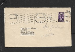 """S.Africa,domestic L Cover, 2d, """"PANTON'S"""" , QUEENSTOWN 23.IX43 > Johannesburg - South Africa (...-1961)"""
