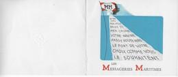 Carte Vœux De La Compagnie Des Messagerie Maritimes Pour 1951. Signature J. ARNOLD. Illustration Pavillon M.M Et Navire - Boats