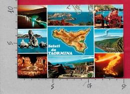 CARTOLINA NV ITALIA - Saluti Da TAORMINA (ME) - Vedutine Multivue - 10 X 15 - Saluti Da.../ Gruss Aus...