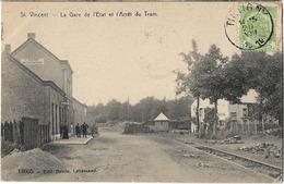 BELGIQUE ST VINCENT GARE DE L'ETAT ET ARRET DU TRAM 18605 - Belgique