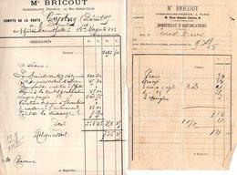 2 DOCS De Vente COMMISSAIRE  PRISEUR MTRE BRICOUT à PARIS Du 09/12/1911 - 1900 – 1949