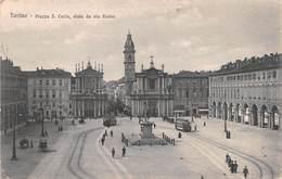 "0623 ""TORINO - PIAZZA S. CARLO - VISTA DA VIA ROMA"" ANIMATA, TRAMWAY, NEVE. CART  SPED 1910 - Places & Squares"