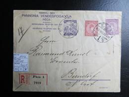 """1916  """" Zita + Karl """"  Brief Nach Berndorf Niederösterrreich, Eingeschrieben PECS 1,   LOT 1001 - Ungarn"""