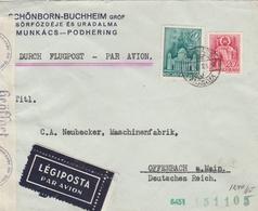 Hongrie Lettre Censurée Par Avion Pour L'Allemagne - Marcophilie