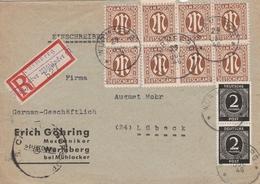Allemagne Bizone Lettre Recommandée Wurmberg über Mühlacker 1946 - Zone Anglo-Américaine