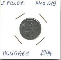 C2 Hungary 2 Filler 1944. KM#519 - Hungary