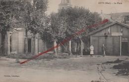 (Oise) Cuts, Environs De Noyon - 60 - Militaria : La Place (animée) Bureau De Poste Provisoire (circulé 1924) - Sonstige Gemeinden