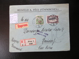 "1919  "" Parlamentstype Mit KÖTZTARSAG ""  EXPRESS Nach Berndorf/ Niederösterreich,  PECS !,   LOT 1003 - Banat-Bacska"