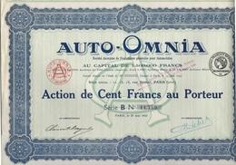 AUTO *OMNIA - ACTION DE 100 FRANCS - ANNEE 1921 - Automobile