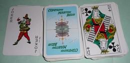 Rare Jeu De 54 Cartes Dorées Publicitaires, Pub Compagnie Maritime Belge, Belgique, Avec Jokers - 54 Cards