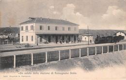 """0631 """"(NOVARA) UN SALUTO DALLA STAZIONE DI ROMAGNANO SESIA""""  ANIMATA, TRENO.  CART   SPED 1890 - Novara"""