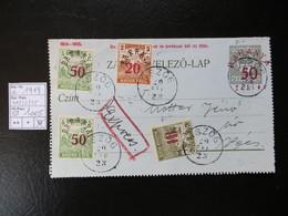 """1919  """" Schnittertyp """"  + 50 Auf 6 In Rot,  USZÖG Gestempelt    LOT 1005 - Baranya"""