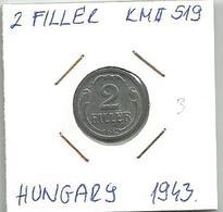C5 Hungary 2 Filler 1943. High Grade KM#519 - Hungary