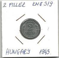 C6 Hungary 2 Filler 1943. High Grade KM#519 - Hungary