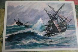 Ship Of Jean-François De Galaup, Comte De Lapérouse.  Geographical Discoveries  Near Solomon Islands Old Soviet Postcard - Salomon