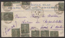 Pli Avec 1 Cmi Olive X25 Oblt CàDate De MILANO 1888 Pour CUXAC D'AUDE - 1861-78 Victor Emmanuel II