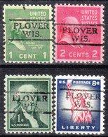 USA Precancel Vorausentwertung Preo, Locals Wisconsin, Plover 728, 4 Diff. - Vereinigte Staaten