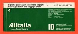 Alitalia Biglietto Carta D'imbarco 1977 Volo Roma Napoli Roma  Avion Flight - Biglietti Di Trasporto