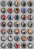 Johnny Hallyday Music Fan ART BADGE BUTTON PIN SET 9 (1inch/25mm Diameter) 35 DIFF - Music