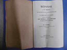 REPONSE A UN MEDECIN PAR CHARLES JEANNEL 1858 - Books, Magazines, Comics