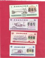 """LOT DE 4 BILLETS """" BON ALIMENTAIRE """" CHINOIS . 0.1 - 0.3 - 0.5 & 1 .. ETAT LUXE . 2 SCANES - Chine"""