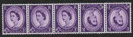 GB 1958 SG 575 3d Deep Lilac - Wm Multiple Crowns Tete-Beche Pair, Umounted Mint - SG Not Listed ! RR - 1952-.... (Elizabeth II)