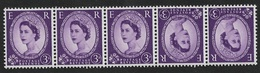 GB 1958 SG 575 3d Deep Lilac - Strip Of 5 Tete-Beche Pair, Multiple Crowns , Umounted Mint - Michel # 323uxK - 1952-.... (Elizabeth II)