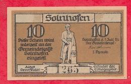 Allemagne 1 Notgeld 10 Pfenning  Stadt Solnhofen UNC (  RARE) Lot N °2063 - [ 3] 1918-1933 : République De Weimar