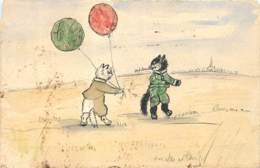 Timbres Sur Carte Postale - Carte Peinte à La Main - Chats Et Ballons - Decoupis Collage - Stamps (pictures)