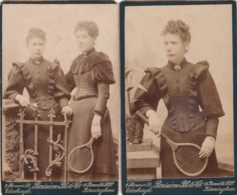 ANTIQUE CDV PHOTOS.  SISTERS WITH TENNIS RACKETS . BIRMINGHAM STUDIO - Photographs