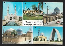 Cpm St004223 Irak Iraq Bagdad 5 Vues Situées Sur Carte , Timbres Collections 2 - Iraq
