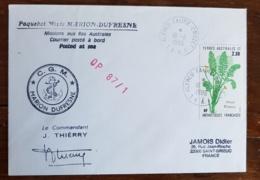 TAAF Theme Polaire PAQUEBOT MIXTE MARION DUFRESNE Mission Aux Iles Australes. 16/11/86 - Forschungsprogramme