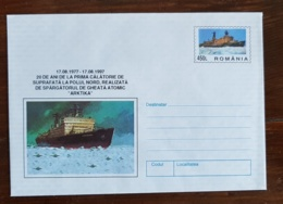 ROUMANIE Theme Polaire. Entier Postal Illustré: 20 Ans Du Premier Voyage En Surface Au Pole Nord En Brise Glace Atomique - Polar Ships & Icebreakers
