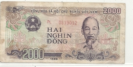 SOCIALIST REPUBLIC OF VIET NAM . 2.000 DONG  . ISSUE 1988  . 2 SCANES - Vietnam